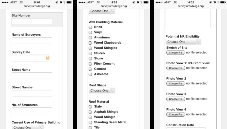 The web interface on an iPhone