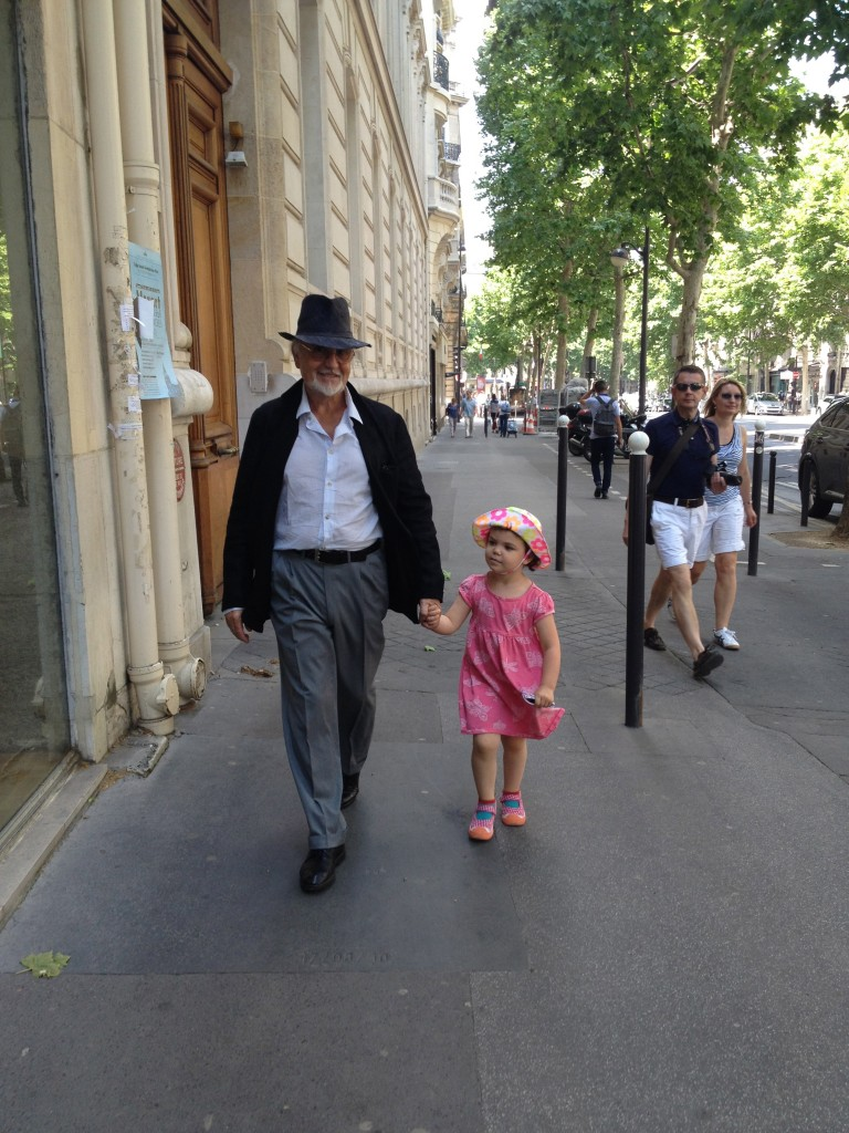 My dad and daughter on a promenade - incidentally one of her fave French words. (I'm not above motivating you with adorableness.)