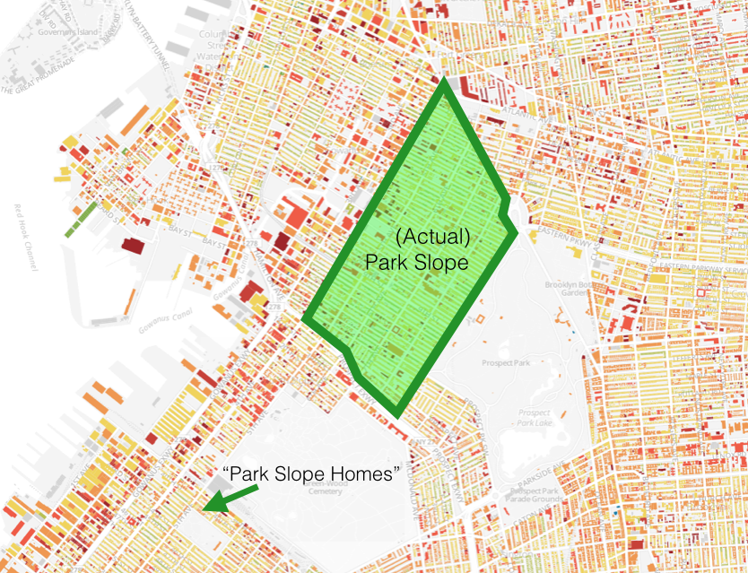 """By any definition, """"Park Slope Homes"""" are nowhere near Park Slope. Great access to Sunset Park and Green-Wood Cemetery, though."""