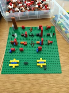 Chemical equations, with minifig bows & arrows.