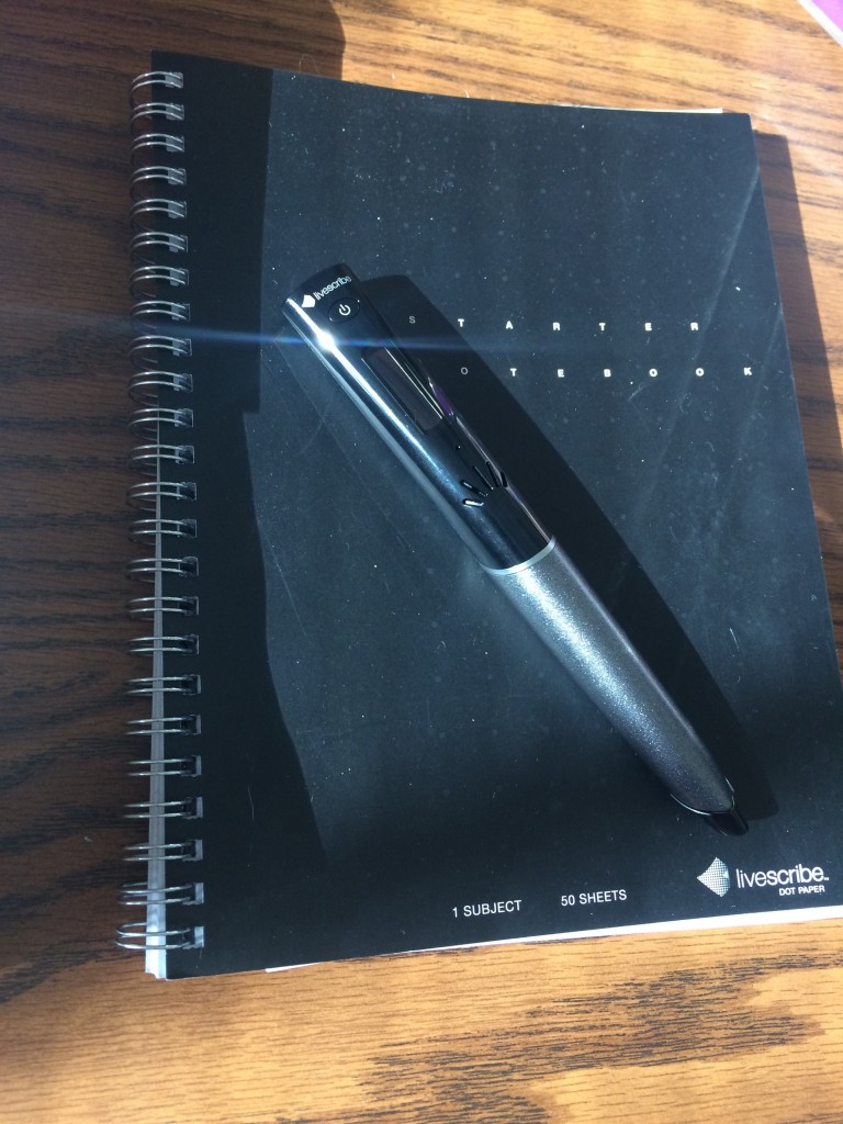 Notebook and pen.