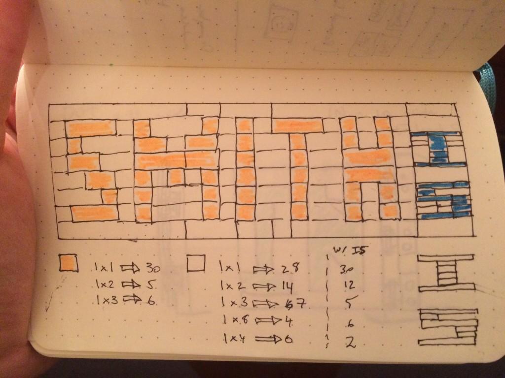 Drawing showing LEGO brick layout