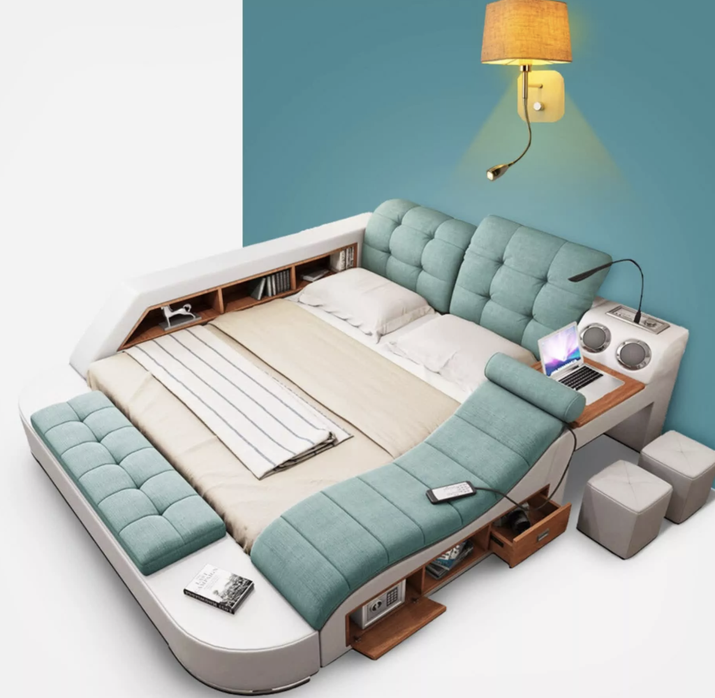 Image of a high tech bed with extra built in features such as speakers, drawers, couch, etc.